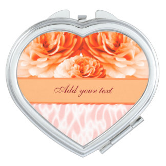 Orange Heart Custom Text Compact Mirror