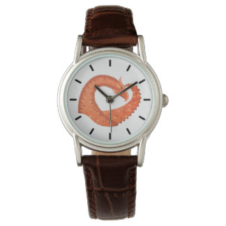 Orange heart dragon on white wrist watch