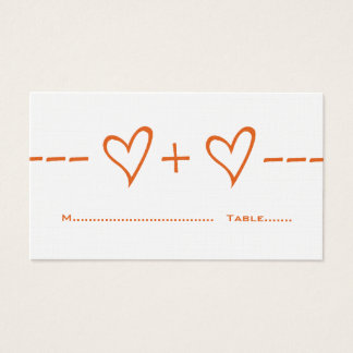 Orange Heart Equation Place Card