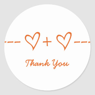 Orange Heart Equation Thank You Stickers