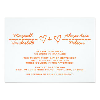 Orange Heart Equation Wedding Invite