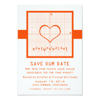 Orange Heart Math Graph Save the Date Invite