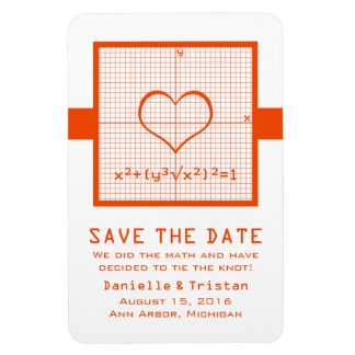 Orange Heart Math Graph Save the Date Magnet