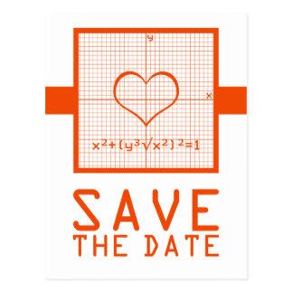 Orange Heart Math Graph Save the Date Postcard