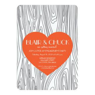 Orange Heart on Faux Wood Invitation