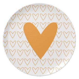 orange heart plate
