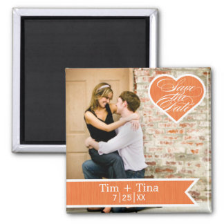 Orange Heart | Save the Date Photo Magnet