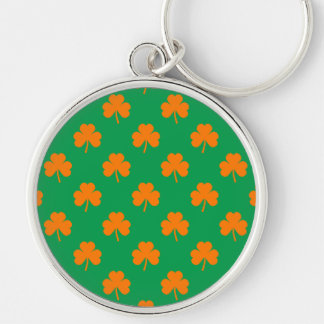 Orange Heart Shamrocks on Irish Green St.Patrick's Silver-Colored Round Keychain