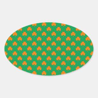 Orange Heart Shamrocks on Irish Green St.Patrick's Oval Sticker