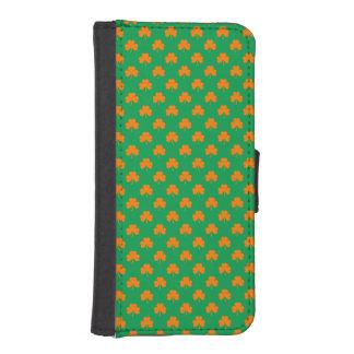Orange Heart Shamrocks on Irish Green St.Patrick's Phone Wallet Cases
