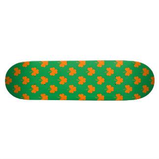 Orange Heart Shamrocks on Irish Green St.Patrick's Skateboard Deck