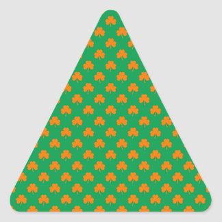 Orange Heart Shamrocks on Irish Green St.Patrick's Triangle Sticker
