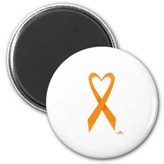 Orange Heart Shaped Awareness Ribbon Fridge Magnet