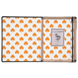 Orange Heart Shaped Clover on White St. Patrick's iPad Cover