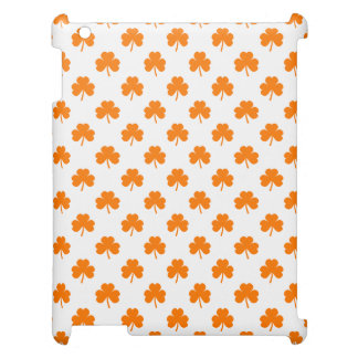 Orange Heart Shaped Clover on White St. Patrick's Case For The iPad
