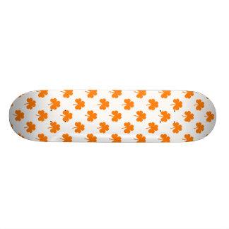 Orange Heart Shaped Clover on White St. Patrick's Skateboard Decks