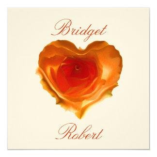 Orange Heart Shaped Rose Wedding Invitation