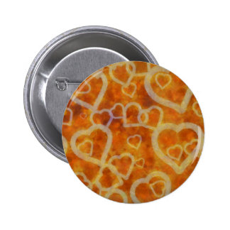 Orange Heart Template Texture Pinback Button