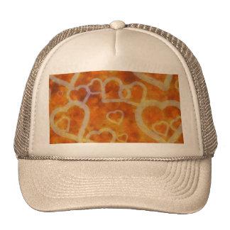 Orange Heart Template Texture Trucker Hat