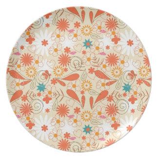 Orange Hearts and Flower Doodle Dinner Plate