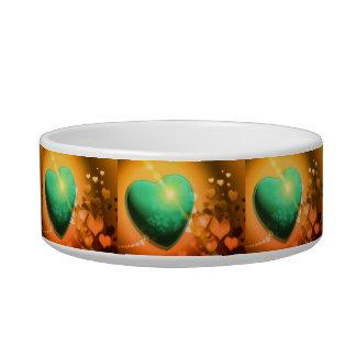 Orange hearts background w green heart & shamrock bowl