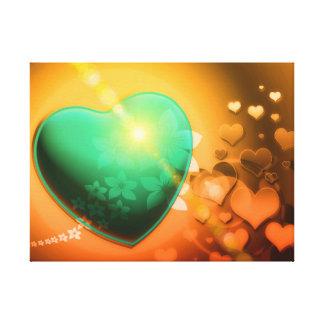 Orange hearts background w green heart shamrock canvas print