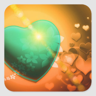 Orange hearts background w green heart & shamrock square sticker