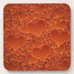 Orange Hearts Beverage Coasters