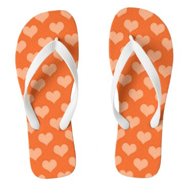 Beach Themed Orange hearts flip flops
