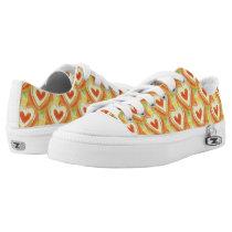 Orange Hearts Fun Pattern for Girls Low-Top Sneakers