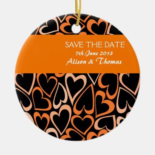 Orange hearts 'Save the date' Ornament