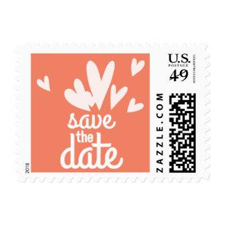 Orange Hearts Save the Date Postage Stamp