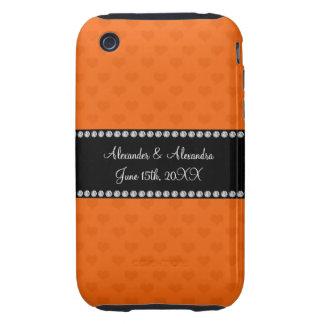 Orange hearts wedding favors iPhone 3 tough case