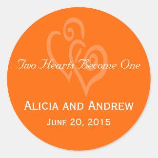 Orange Hearts Wedding Favour Stickers