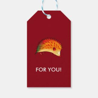 Orange hedgehog gift tag