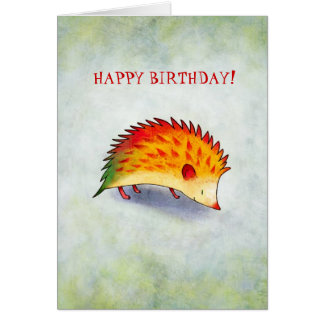 Orange Hedgehog Greeting Card(customizable)