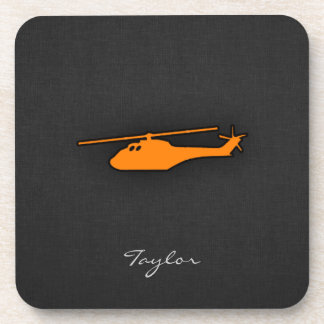 Orange Helicopter Drink Coaster