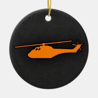Orange Helicopter Double-Sided Ceramic Round Christmas Ornament