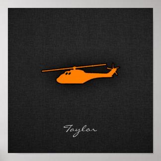 Orange Helicopter Poster