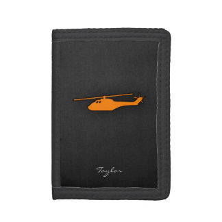 Orange Helicopter Trifold Wallets