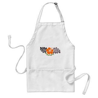 Orange Hibiscus and Leaves Adult Apron