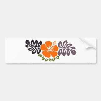 Orange Hibiscus and Leaves Car Bumper Sticker
