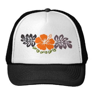 Orange Hibiscus and Leaves Mesh Hats