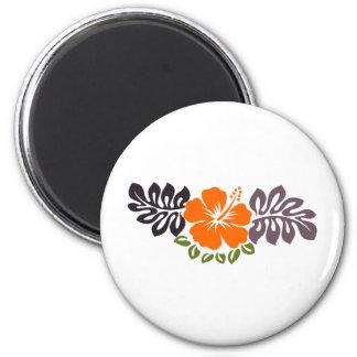 Orange Hibiscus and Leaves Magnet