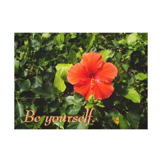 Orange Hibiscus and Positive Quote Canvas Print