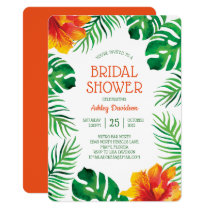 Orange Hibiscus and Tropical Leaves Bridal Shower Invitation