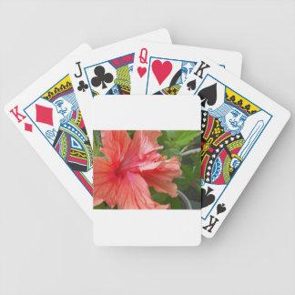 Orange Hibiscus Bicycle Playing Cards