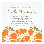 """Orange Hibiscus Bridal Shower Invitations 5.25"""" Square Invitation Card"""