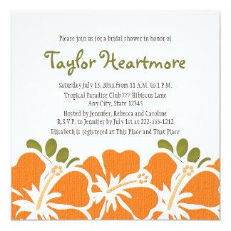 Orange Hibiscus Bridal Shower Invitations