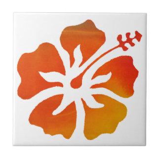 Orange Hibiscus Flower Art Tile Trivet Coaster